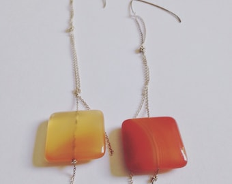 Carnelian + sterling silver gemstone drop earrings.