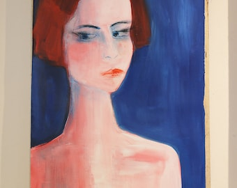 on SALE - Fine Art - Portrait of a Woman - Oil, Acrylics and Oil Pastels on paper - Red - Blue - Pink