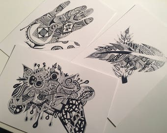 3 postcards set (ore and left hand and leaf& feather)