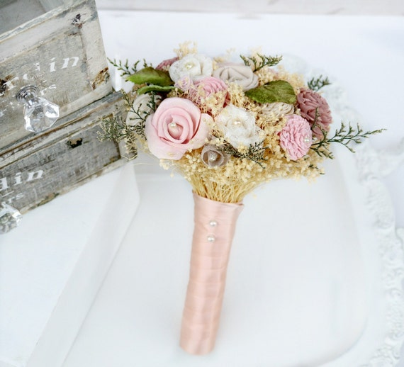 Captivating Pink Flowers Small Wedding Bouquet // Dusty Rose Green