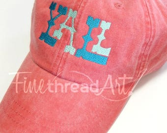 LADIES Yall Baseball Cap Hat LEATHER strap Monogram Preppy Bachelorette Pigment Dyed Acadiana South Southern Y'all