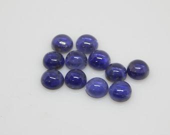 7x7mm Natural Blue Iolite Round Cabochon 2 pc natural Iolite gemstone
