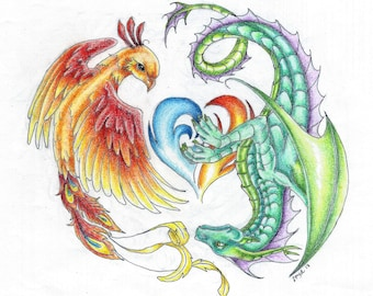 Dragon and Phoenix- post card sized print on heavy cardstock colored pencil and ink original.