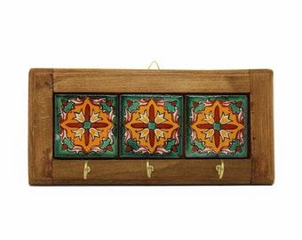 Wooden and ceramic key board-Flor Rojo