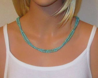 Turquoise Necklace Long Single Strand Small 5 to 6mm Beads
