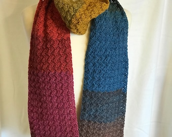 Warm Winter Scarf, Muted Rainbow, Pink, Blue, Green, Gold, Purple