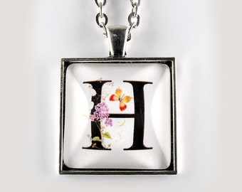 Letter H pendant - flowers and butterflies