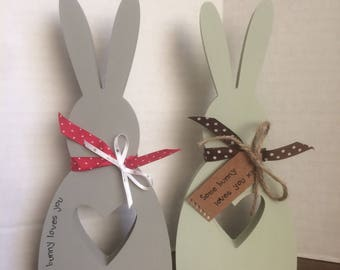 Wooden Bunny with handstamped message