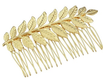 Gold Leaf Hair Comb. Bridal Hair Comb, Leaf Headpiece, Wedding Hair Accessory, Woodland Hair Accessory, Gold Leaf Hair Comb