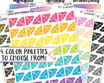 Scalloped Payday Trackers! - Functional Stickers (FN021) || 4 Color Palettes || ECLP, Bujo, HappyPlanner, Mambi, TN, Travelers Notebook
