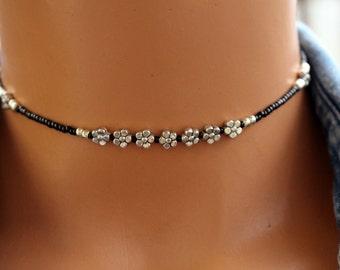 Silver Beaded Choker, Flower Choker, Black and Silver Beaded Choker, Boho Chic Choker Necklace, Womens Choker, Teen Choker, Gift for Her