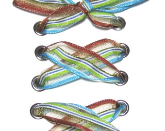 """THE SHOELACES SHOP-Brown, Green, Blue Ribbon Shoelaces, Ribbon Shoe Laces, Organza Shoelaces, Brown Shoelaces, Green Shoelaces, """"Well-Lined"""""""