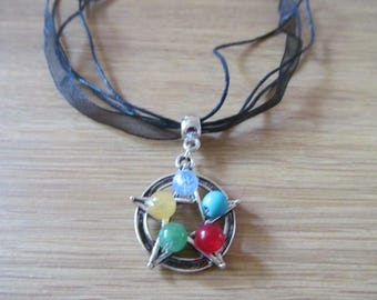 Pagan pentagram pendant with agate opalite aventurine for elements. Ideal Yule gift