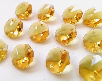 50 Yellow Octagon 14mm Chandelier Crystals 2 Hole Beads