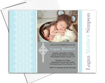 Printed or printable baptism invitation boy | blue and brown baby boy Christening invitation with picture - WLP00203