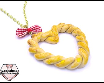 I LOVE Bread Necklace, Bread Heart, Bread Jewelry, Bakery, Bread Twist, Miniature Food Jewelry, Carb Lover, Food Jewelry