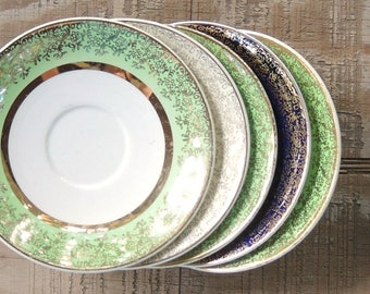Vintage Mismatched Saucers Set of 5  Green Blue Gold Plates Tea Cups Replacement China
