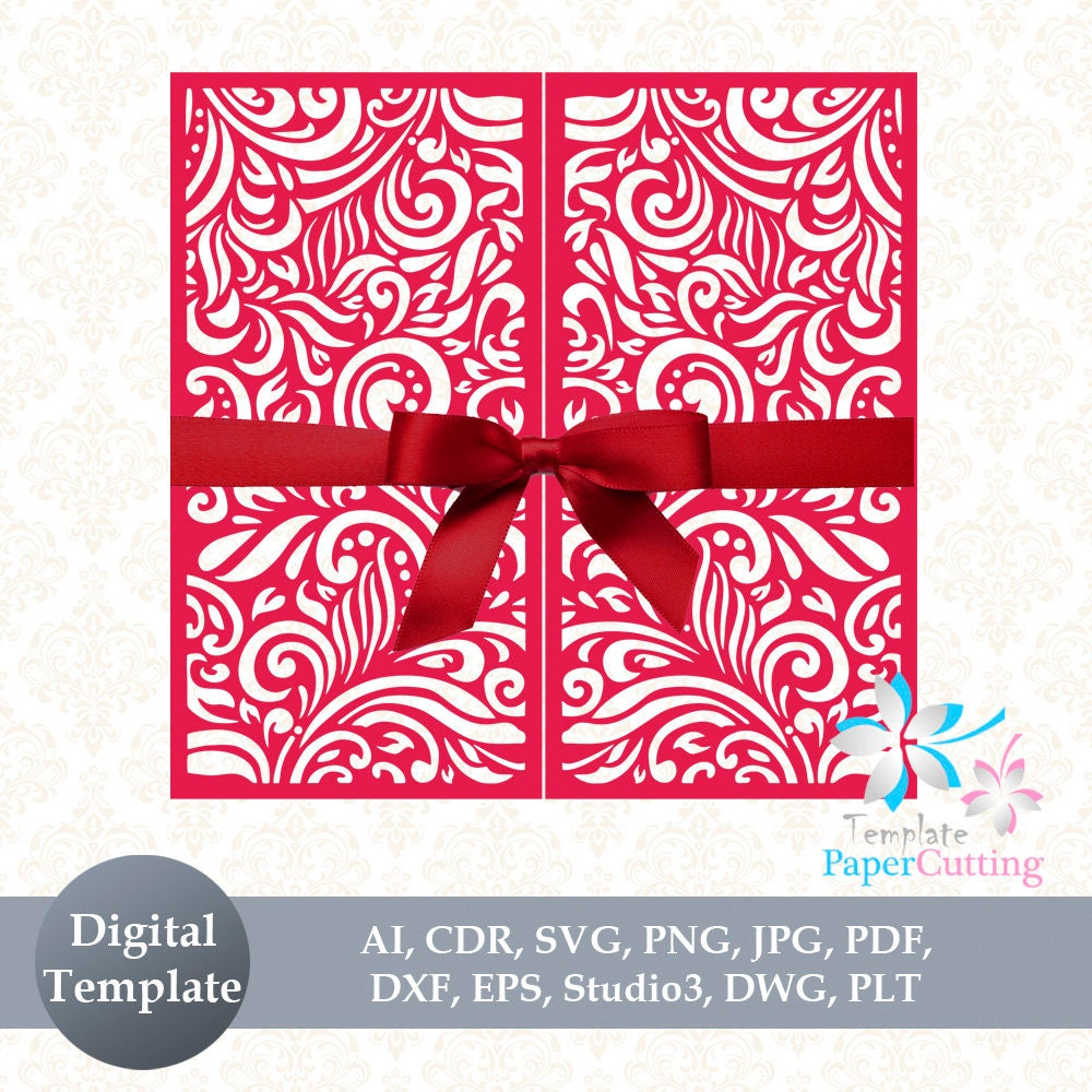 Wedding Invitation SVG Template Quinceanera card floral