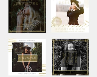 Modern Gold Mini Sessions Photoshop Marketing Template Collection for Photographers - Blog Board - Social Media Template - 5x5 Flyer
