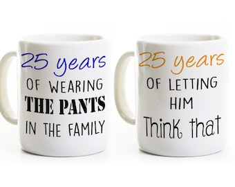 25th Anniversary Gift - Couples Coffee Mugs Cups - His and Hers Coffee Mugs - 25 Years Married - Silver Wedding Anniversary Mugs