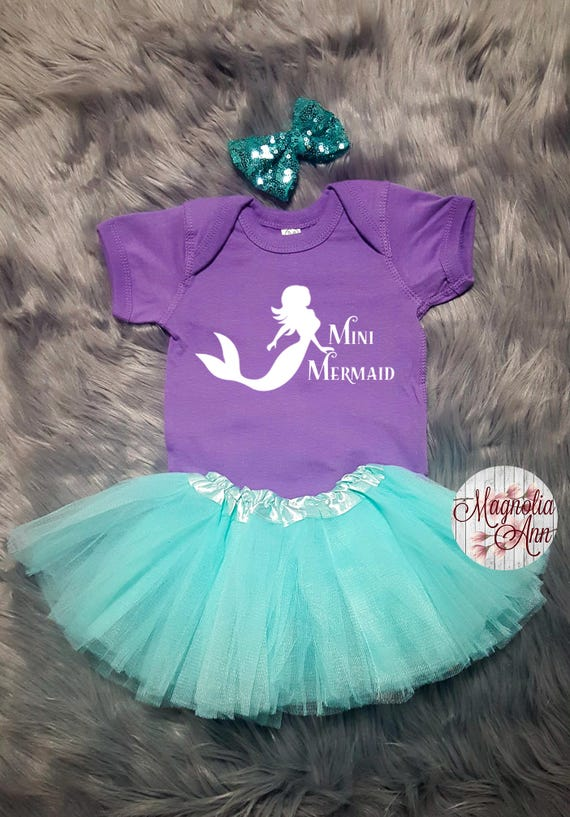 Mini Mermaid Outfit, 1st Birthday Outfit, Mermaid Outfit, 1st Birthday Tutu Outfit, Toddler Mermaid Shirt, Toddler Mermaid Tutu Set, Mermaid