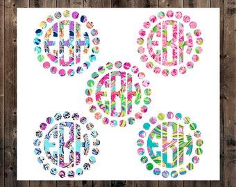 Lilly Initial Monogram Decal, Circle Decal, Lilly Yeti Monogram Decal, Yeti Decal for Woman, Bridal Gift, Circle Frame Monogram, Car Decal