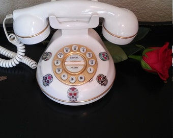Upcycled princess phone/telephone with SUGAR SKULLS -kitsch/retro telephone 80's- gift idea for her SALE!!! Free shipping U.S only