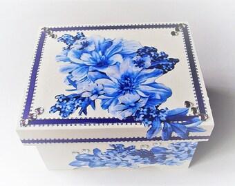 Jewelry box with trays sunflower design fabric decoupage