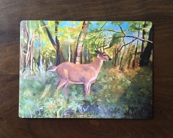 """5"""" x 4"""" magnet of a deer in the forest."""