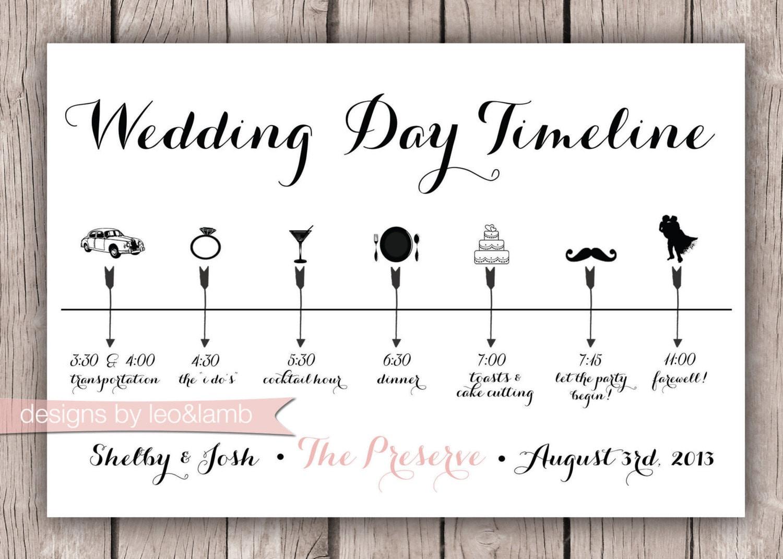 Custom Wedding Timeline X Digital File - Wedding invitation templates: free wedding itinerary template