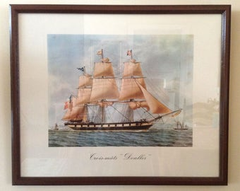 "Vintage Watercolor Framed Print - Antoine Roux – Golden Age of the Sailing Ships – Trois-Mâts ""Denlles"