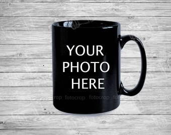 Personalized Black Coffee mug 11oz custom photo name text logo photo gift new ceramic