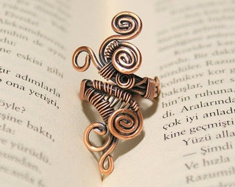Copper Wire Wrapped Jewelry Handmade Rings For Women, Copper Wire Jewelry, Solid Copper Adjustable Ring