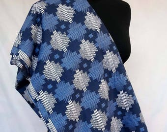 fabric by the yard, cotton, indigo and white collection, clothing, upholstery