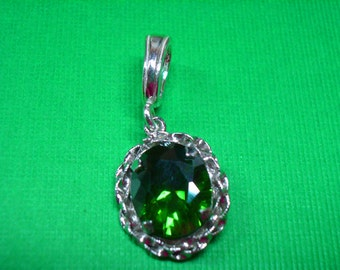 Pretty Green Cubic Zirconia Pendant --  SALE  -- Sterling Silver and Green CZ Pendant - Beautiful Sterling Silver Green Pendant