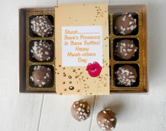 Prosecco Chocolate Truffles (12 Pieces) - Personalised Gift Box For Mothers Day/Birthdays - Novel Chocolate Gift - Mwah-others Day Treat