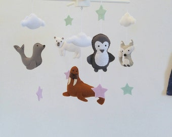 Penguin, polar bear, seal, arctic fox and walrus baby mobile, arctic baby mobile - arctic animals nursery mobile made to order