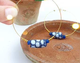 Statement earrings - Large rings earrings / Hoops - Cobalt blue dots - African beads - Recycled glass - Ethnic boho chic jewelry - OOAK