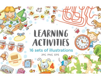 Different logic games, tasks for preschool, elementary school, matching objects, labirynths, finding differences, counting, learning shapes