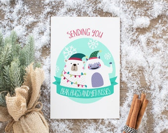 Yeti & Bear Holiday Cards, Christmas Cards, Xmas, Woodland, unique and hipster, pop art, Holidays, Xmas, funny cards, personalized