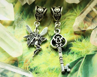 Faerie and Key Dreadlock Bead Set, Magical Garden