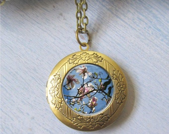 Magnolia Locket, Magnolia Necklace, Flower Bloom Jewelry