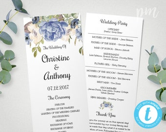 Floral Blue Peony Wedding Program Template, Instant Download Ceremony Program, Printable, Tea Length Program with Blue Flowers