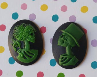 2 pcs 40x30mm Skeleton Bride Broom Resin Cameos Set - Green Zombie Haunted Mansion Skull Embellishment Decoden Ghost Halloween