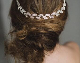 Rose Gold Bridal Headband   Rose Gold Hair Combs   Rose Gold Hair Vine   Rose Gold Bridal Head Piece      Gracie Headband - Rose Gold