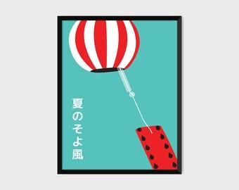 Japanese Windchime Watermelon Print Pop Art Illustration [green]