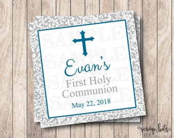 Personalized Printable First Communion Tags, Printable First Holy Communion Tags, Small Cross Boy Communion Tags