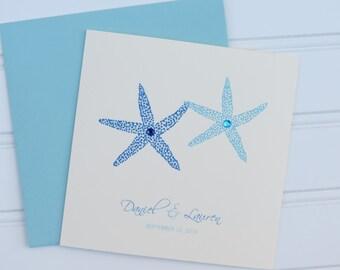 Custom Beach Wedding Card, Personalized Wedding Card, Congratulations Card, Coastal Wedding, Blue Starfish Card, Destination Wedding Card