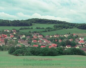 Prague Photography - Red Houses Countryside - Beautiful Landscape - European Romantic Wall Decor - Art Print