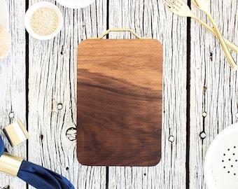 Rectangle Walnut Cutting Board - Bread Board (Op Brass Handle), Cooking Gift, Kitchen, Made in USA, Charcuterie Serving Board, Butcher Board